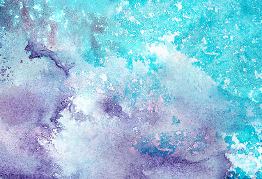 Blue and purple abstract watercolour wallpaper wall mural design