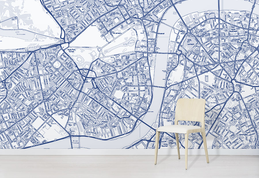 Blue Custom OS Street Map Wallpaper in situ with chair
