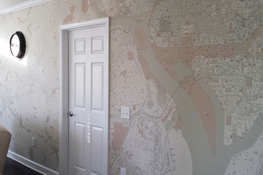 Custom area map wall mural wallpaper with door and clock