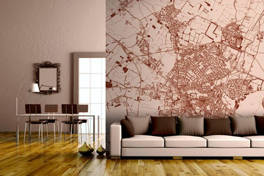 Sepia vintage style map wallpaper in the home with sofa and table
