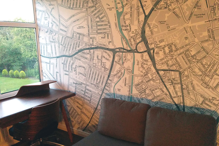 Customised Postcode Map Wallpaper with sofa and window