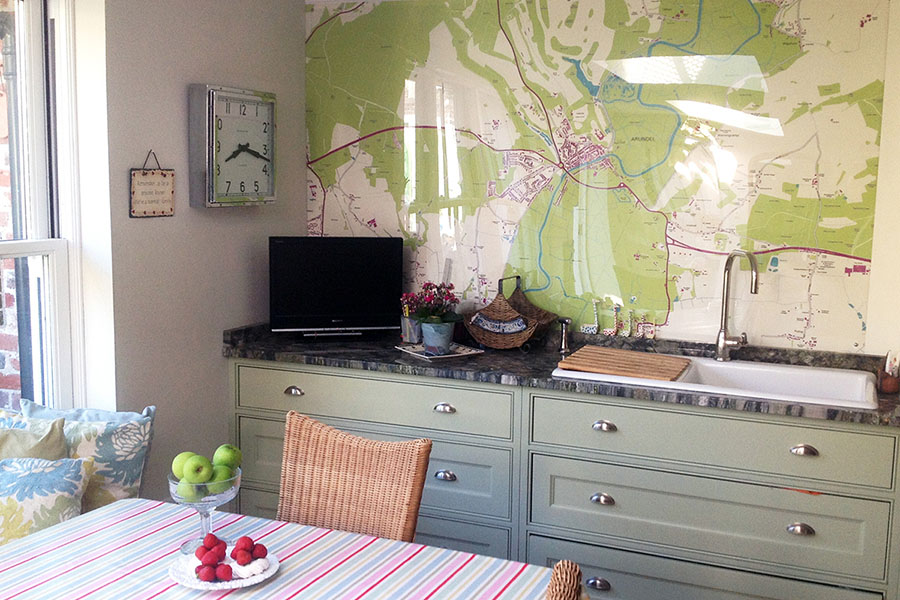 Custom made Area Map Wall mural in the kitchen as a splashback