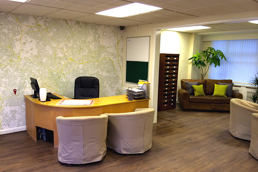 Bespoke area postcode map wallpaper mural in an office reception space