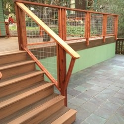 Decks Railing In Campbell Yelp   Hog Wire Stair Railing   Deck Stainless   Wire Lattice Deck   Wire Panel   Privacy Panel Cable Railing   Modern Farmhouse