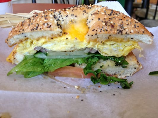 Veggie Egg & Cheddar bagel sandwich photo by Audrey K. on Yelp