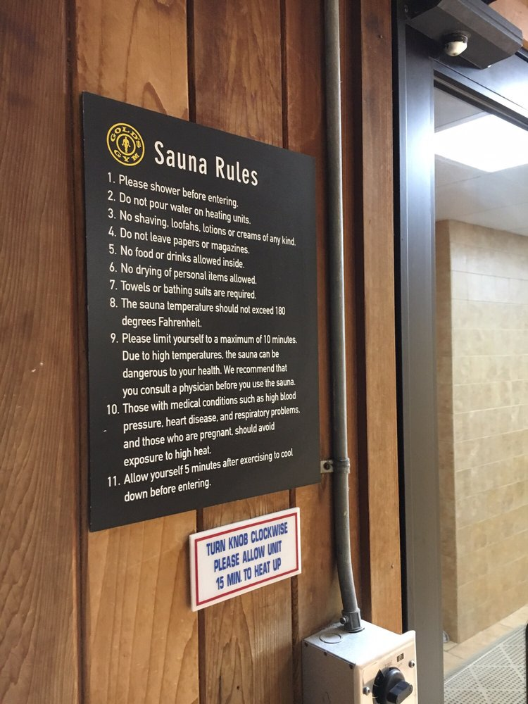 Gold s gym sauna rules kayayoga.co