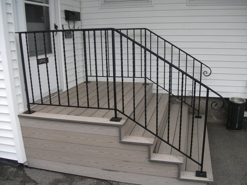 Exterior Wrought Iron Handrails On Composite Steps Yelp | Wrought Iron Railings For Outside Steps