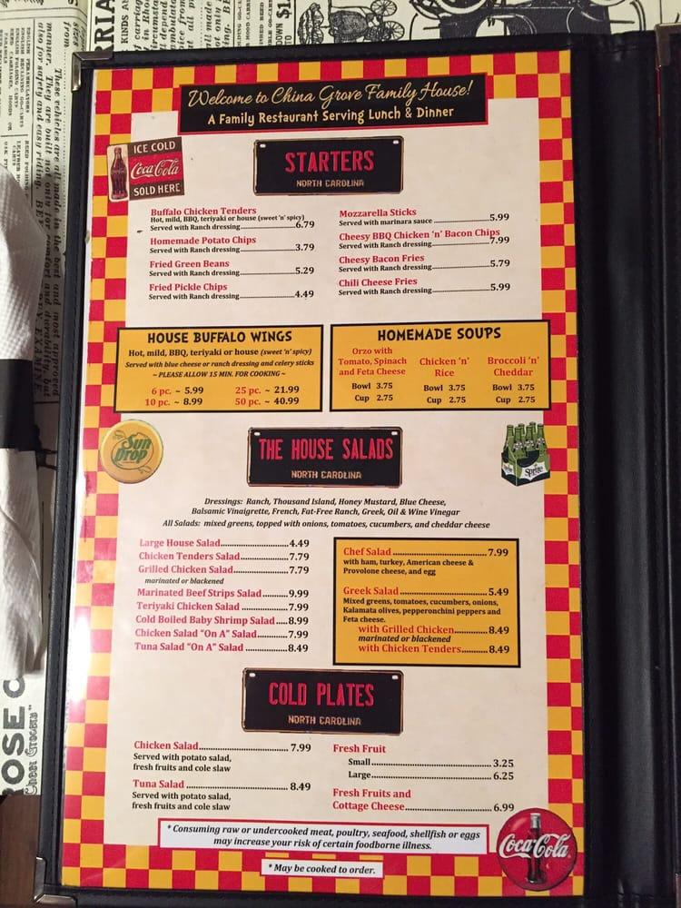 Online Menu Of China Grove Family House Restaurant China Grove