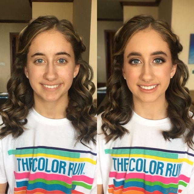 16 year old jr. bridesmaid: enhanced makeup with half up