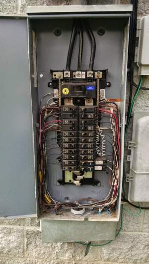 Typical 200 amp electrical panel Outside weatherproof