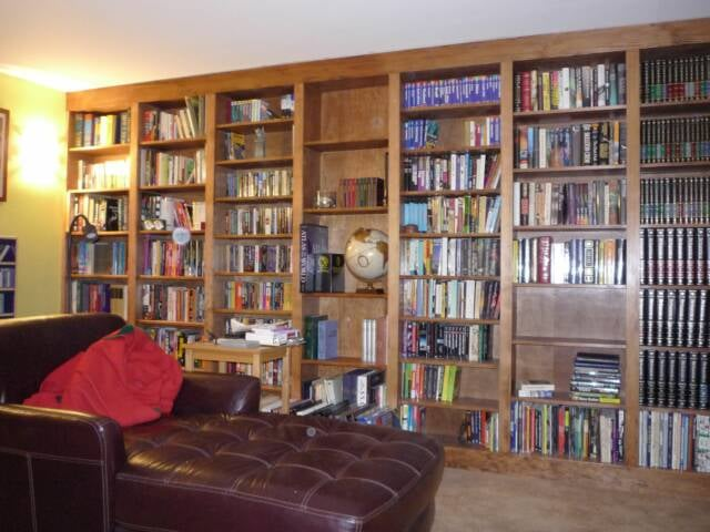 Custom Design & Build Floor-to-ceiling Bookcase.
