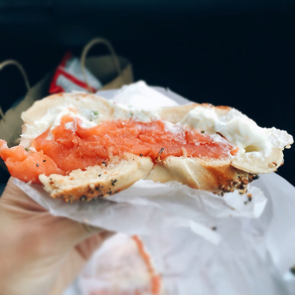 Photo of Utopia Bagels - Whitestone, NY, United States. Lox bagel with scallion cream cheese on an everything bagel