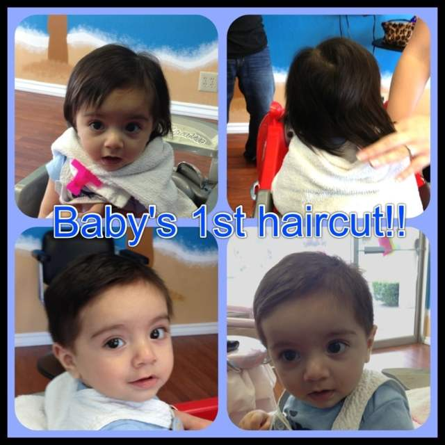 baby's first haircut! only 6 months old!! what a sweet boy