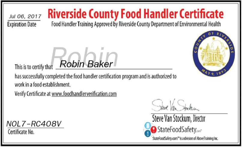 Food Handlers Card Riverside County Online | Letterjdi.org