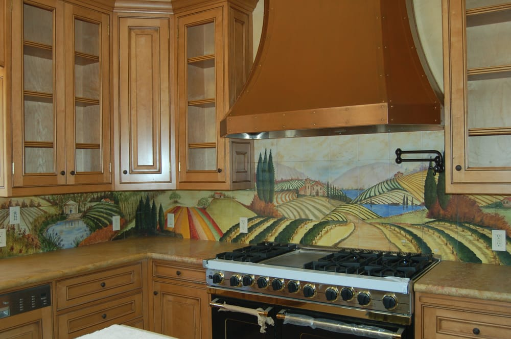 Kitchen Counter With Hand Painted Tile Backsplash