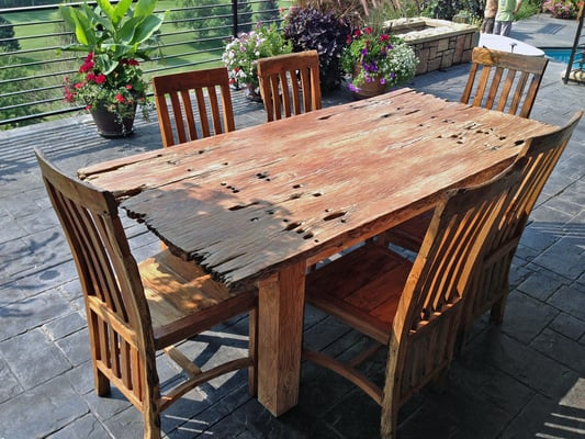 Rustic Furniture. Table And Dining Chairs Made From