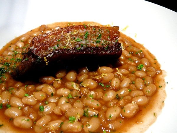 pork belly and beans
