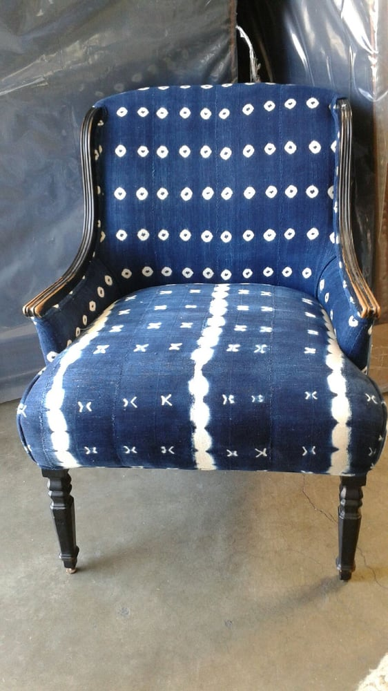 Cascas Vintage & Design - Huntington Beach, CA, United States. Vintage Indigo Fabric, re upholstered vintage chair.