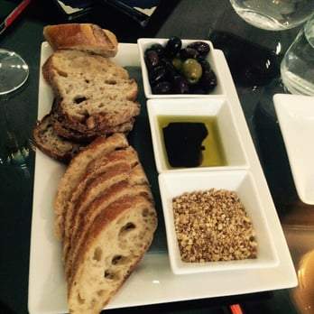 Cavern Baggot Street - Dublin, Republic of Ireland. Olives, oil and vinegar, crushed nuts