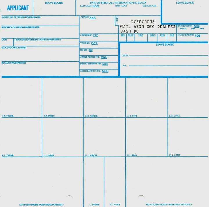 Fd 258 Fingerprint Cards Instructions Cardbk