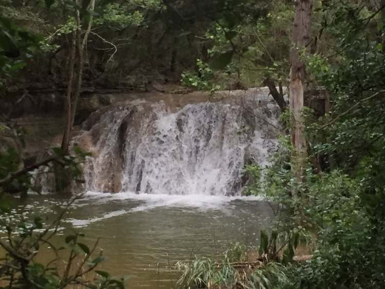 Waterfall you might encounter when hiking in Austin in spring