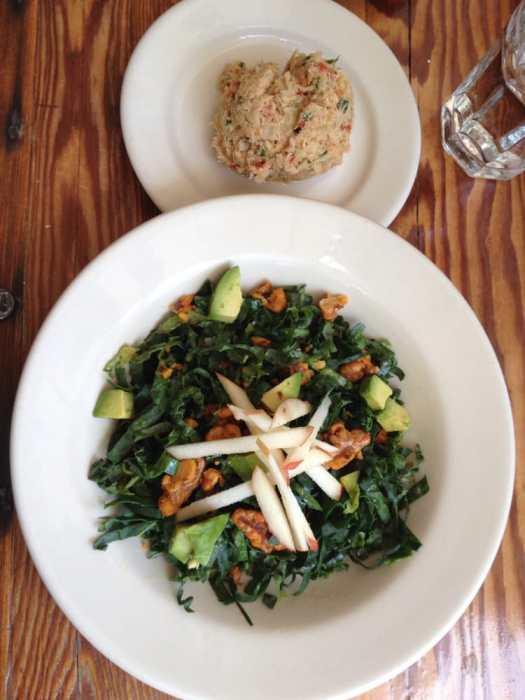Photo of Community Plate - McMinnville, OR, United States. Kale chopped salad (refreshing lemon vinaigrette) $8, scoop of tuna salad