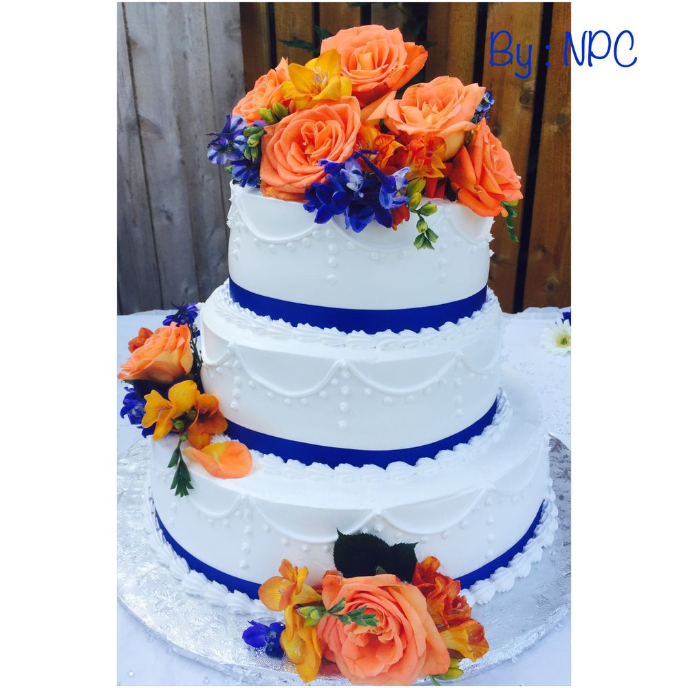 Coral white and Royal blue Wedding cake   Yelp 56 photos for Nilda s Party Creations