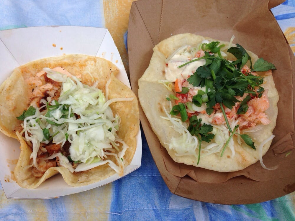 Photo of Cha Cha Chow Food Truck - Saint Louis, MO, United States. Left: grilled fish taco on a corn tortilla, creamy cha cha sauce, cilantro lime slaw; right: lobster taco... need I say more?!