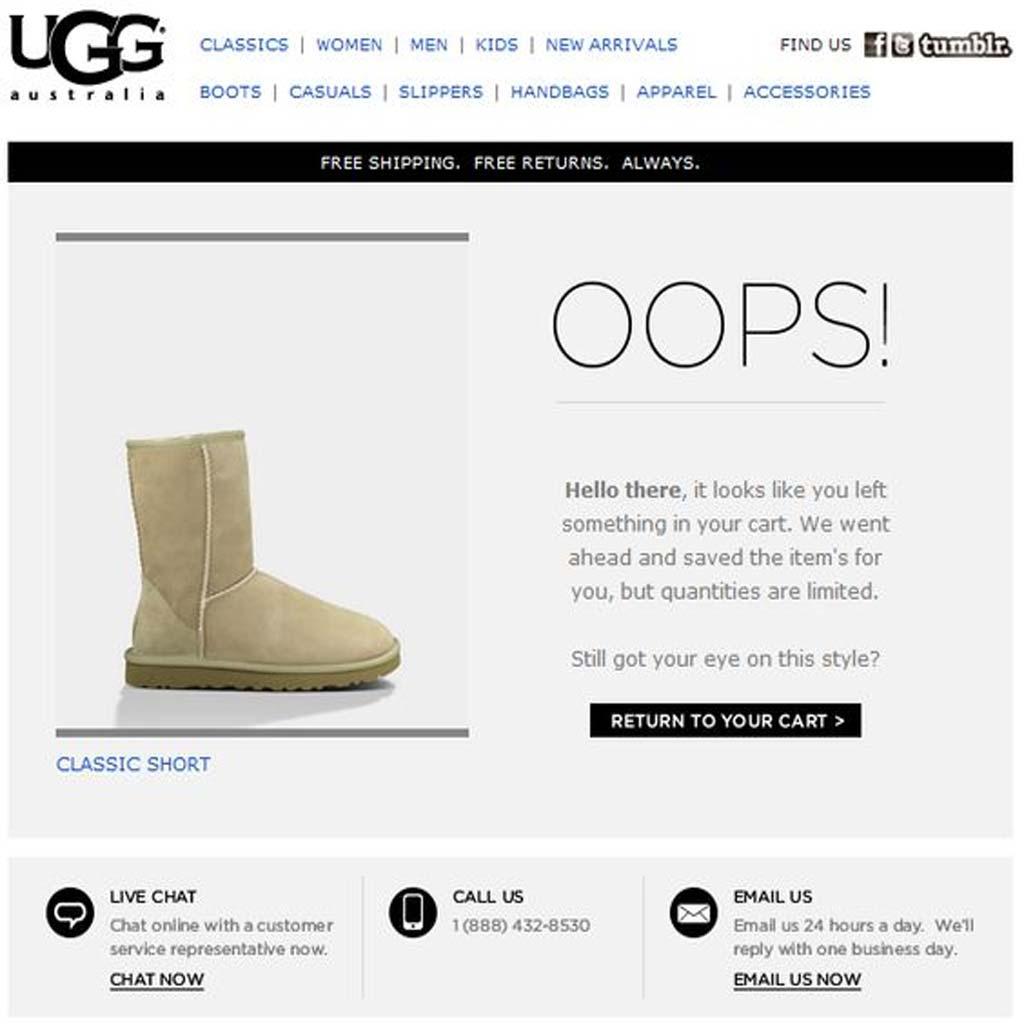 UGG ecommerce newsletter idea