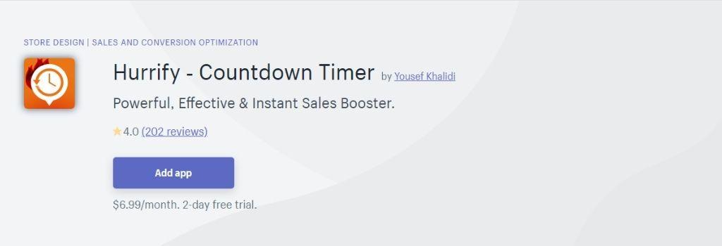 hurrify Countdown timer