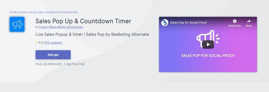 sales pop up countdown timer