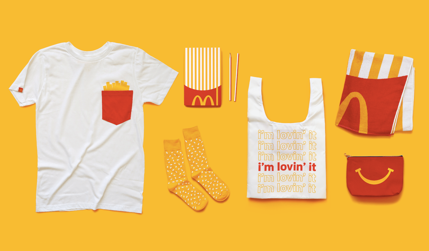 Merchandise sold at McDonald's global convention featured playful patterns and the freed-up arches