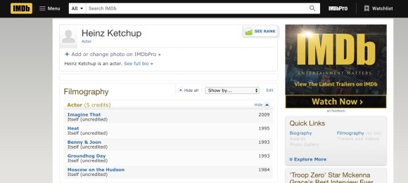 Heinz Ketchup made an IMDB page for itself to get credit for all ...