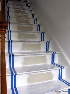 How to Paint Stairs - Taping Stage
