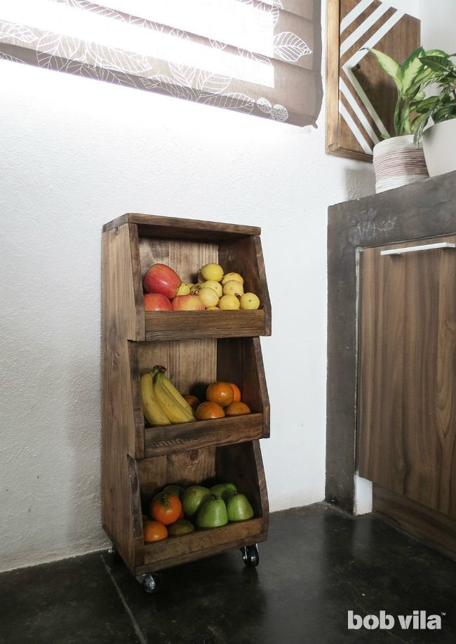 DIY Rolling Cart Tutorial For Extra Kitchen Storage Bob Vila