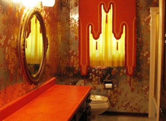 Orange bathroom before picture