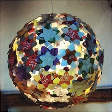 Terracycle A Global Green Startup Created This Awesome Hanging Light Entirely From Recycled Drink Pouches Covering Wire Framed Paper Lantern