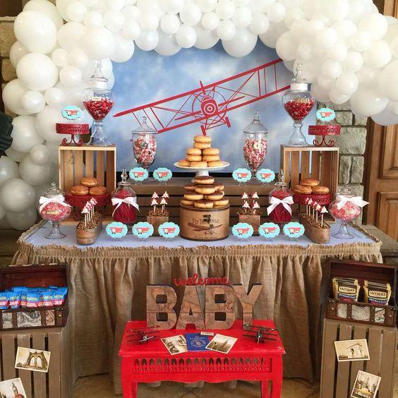 Vintage Airplane Birthday Party Airplane Baby Shower: 10 Temas De Decoração De Chá De Bebê Menino €� EuNeném