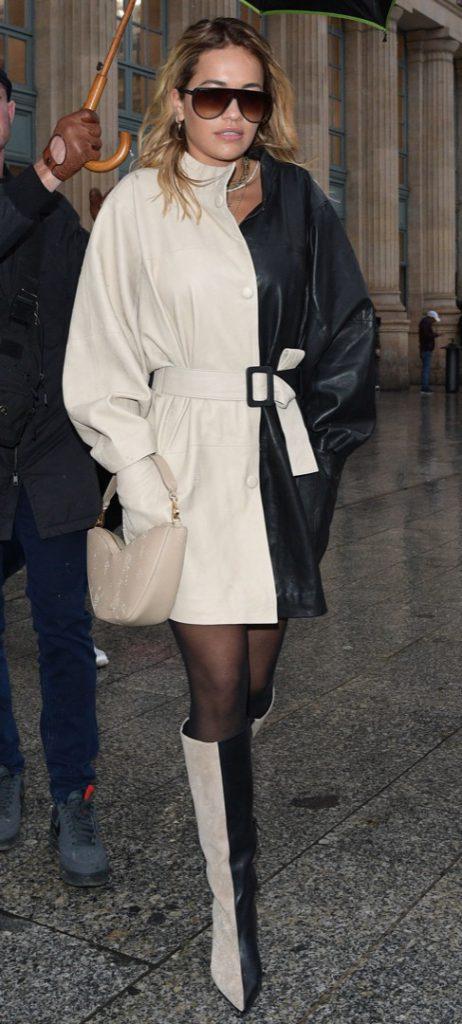 Rita Ora. Street style at the Gare du Nord.