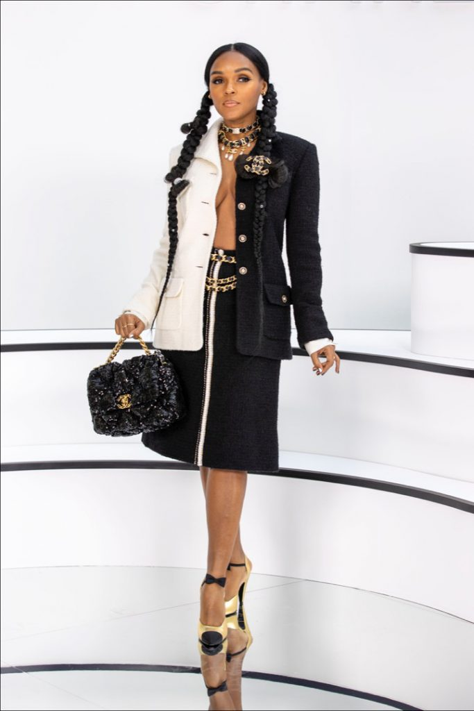 Janelle Monáe. Street style at the Chanel show.