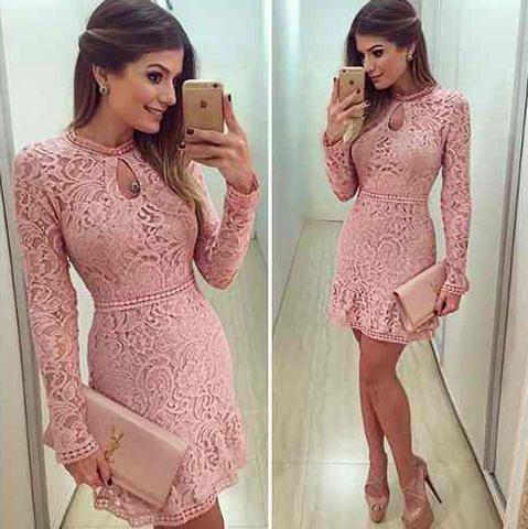 vestido de guipir rosa barato online -