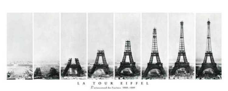 A evolução da construção da Torre Eiffel