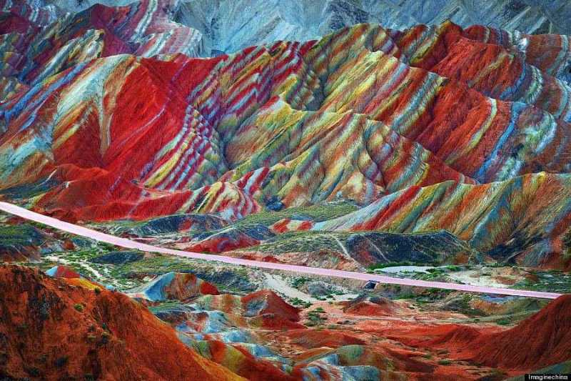 """""""View of colourful rock formations at the Zhangye Danxia Landform Geological Park in Gansu Province, China, 22 September 2012."""""""
