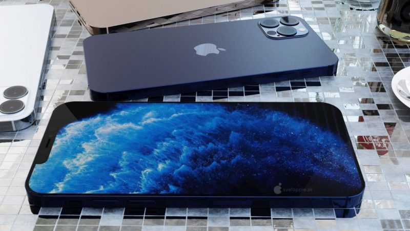 iPhone 12 Pro render in blue with screen and back.