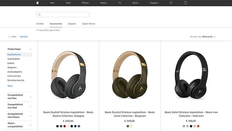 Audioproducten in Apple Store