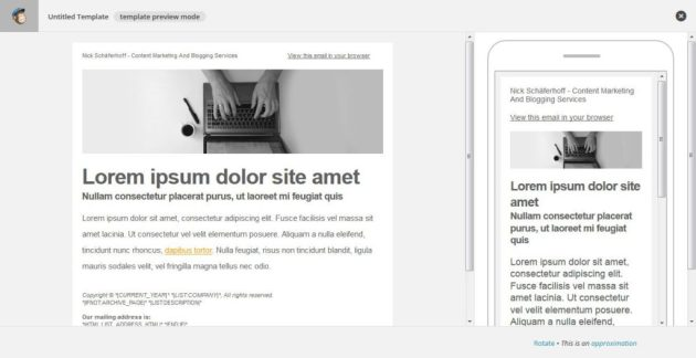 MailChimp Template Preview