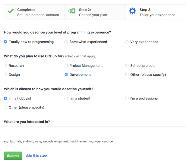 GitHub tailor your experience