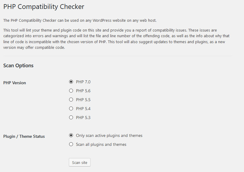 update php version safely with php compatibility checker