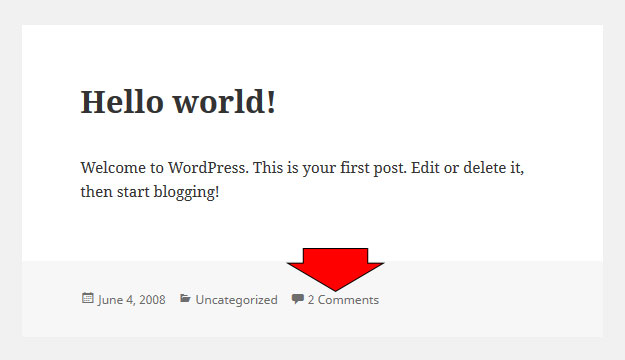 comment link in WordPress-theme