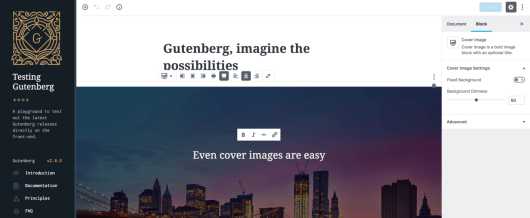 The official Gutenberg demo.